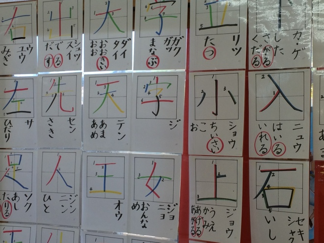 Many classrooms are decorated with children's productions. Here we can see worksheets demonstrating stroke directionality.