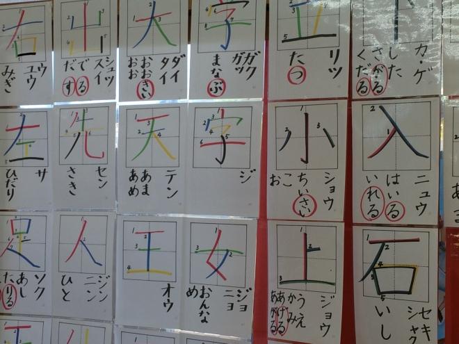 Las aulas están decoradas con las producciones de los niños. Aquí vemos las hojas  de trabajo que muestran la direccionalidad del trazo.